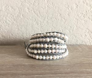 Gray Pearl Leather Wrap