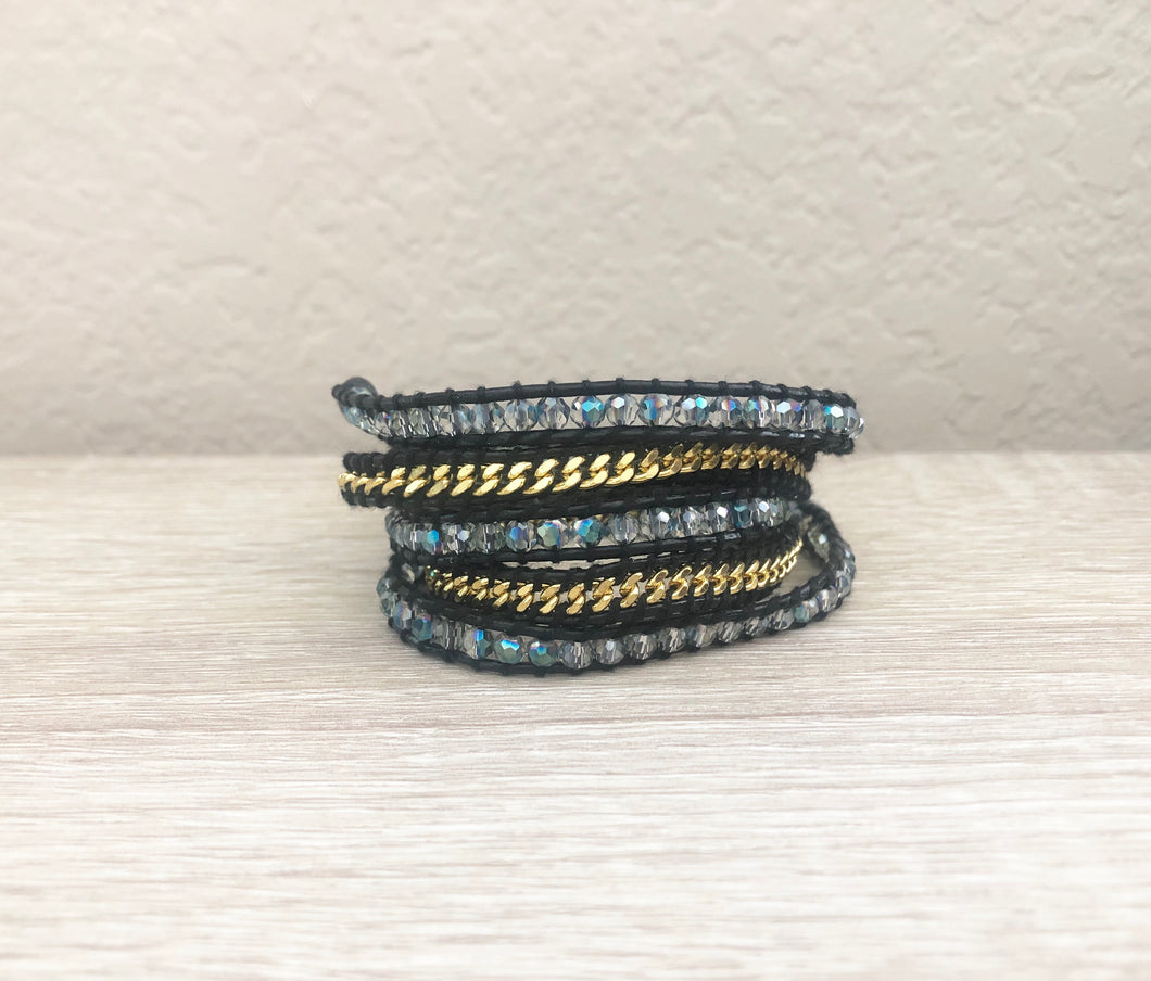 Crystal and Gold Chain on Black Leather Wrap