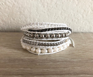 White Pearl Leather Wrap