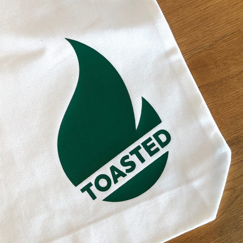 Toasted Tote Bag - White with Green Logo