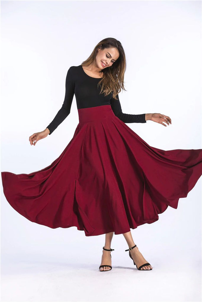 Pleated Maxi Skirt - Bow and Slits - 5 Colours - S-4XL