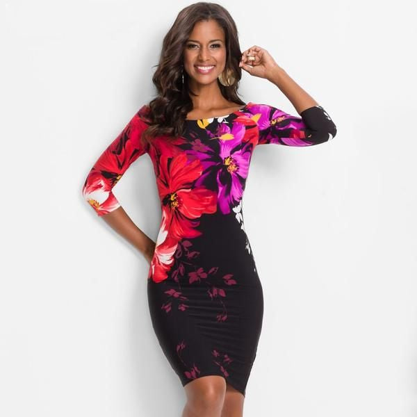 Floral Body Dress - Long Sleeve - 2 Colours - S-3XL