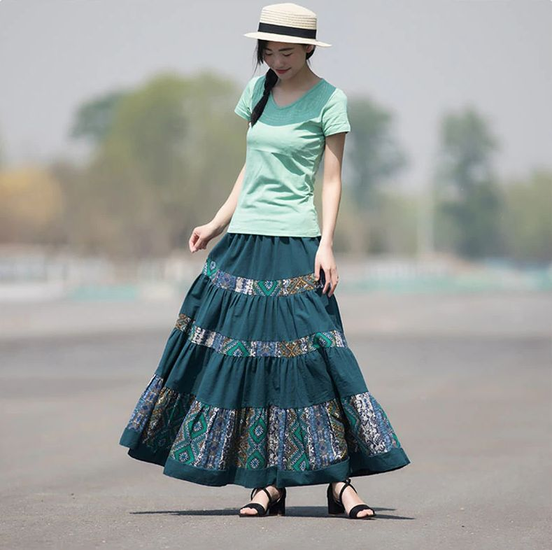 Casual Pleated Maxi Skirt - 2 Colours - S - XL (One Size)
