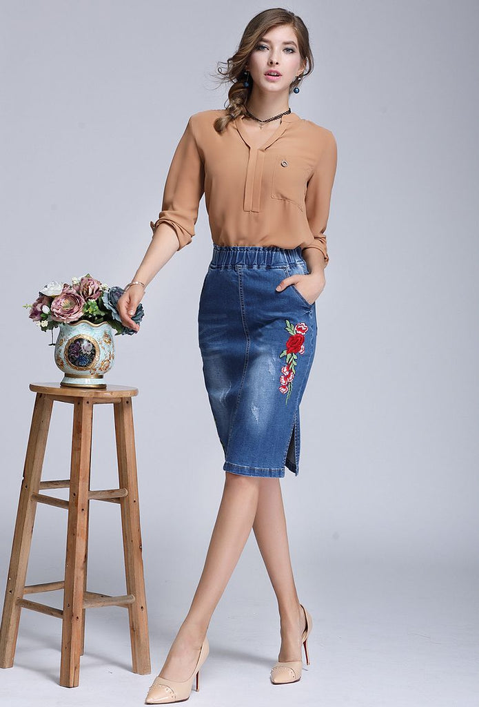 Pencil Denim Skirt - Floral Embroidery - S-4XL