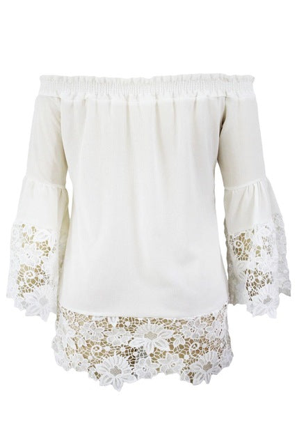 Gypsy Style Blouse - Flare Sleeve Lace Trim - S-M-L