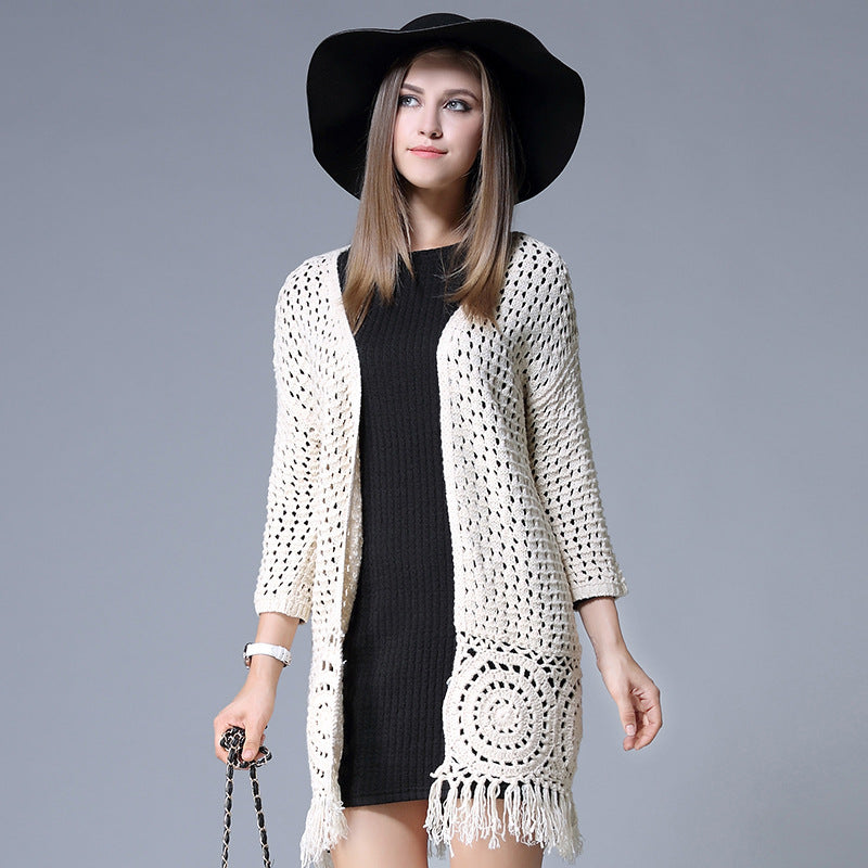 Long Sleeve Tassel Cardigan - L-5XL