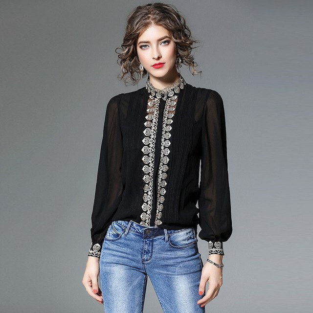 Embroidered Chiffon Shirt + Camisole - S-2XL