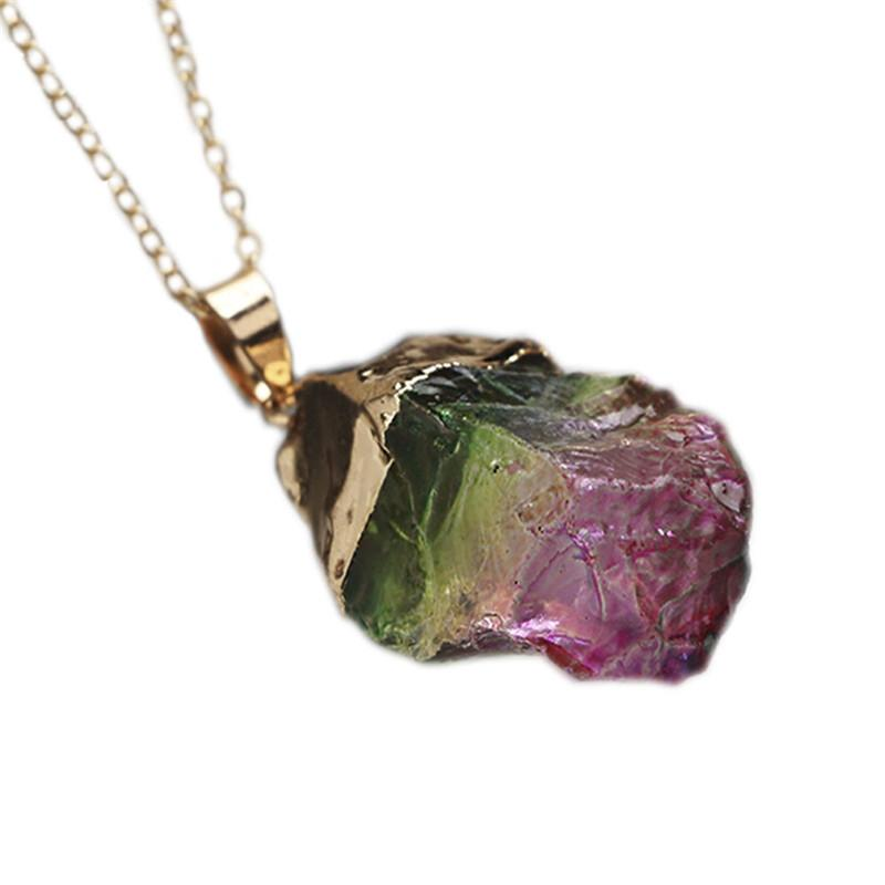 Healing Chakra Rock Necklace (Natural Quartz) + 10% Donation
