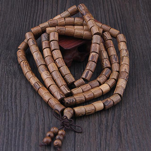 108 Cylindrical Wenge Wood Mala Beads Bracelet
