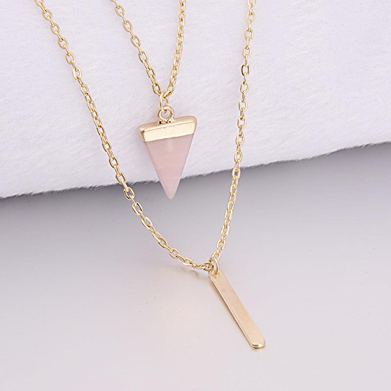 Healing Pyramid Rose Quartz Two Layer Necklace