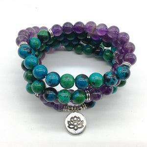 Healing Amethyst and Revitalizing Chrysocolla Lotus Charmed Mala