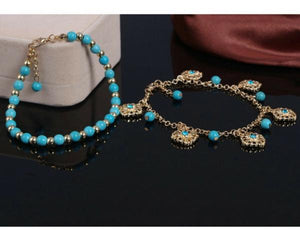 Double Layer Turquoise Beads Anklet