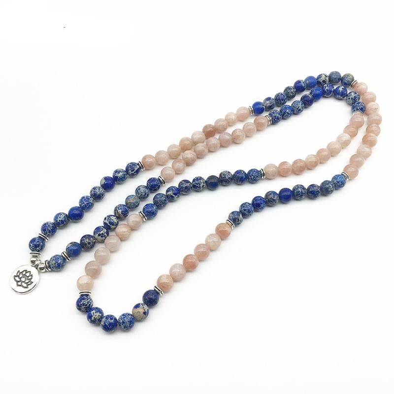 Powerful Aqua Terra Jasper and Healing Sunstone Mala Bracelet