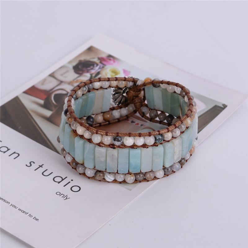 Healing Amazonite and Agate Wrap Bracelet for Strength and Protection