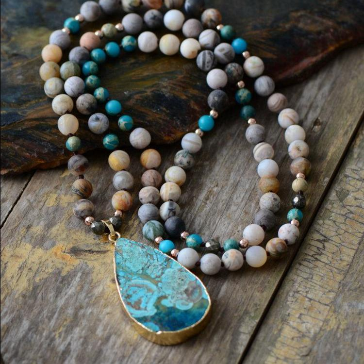 Calming Ocean Jasper Teardrop Necklace + 10% Donation