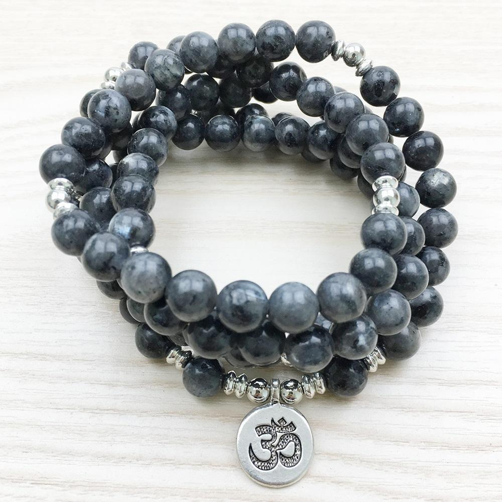 Buddhist Natural Labradorite Om Mala + 10% Donation