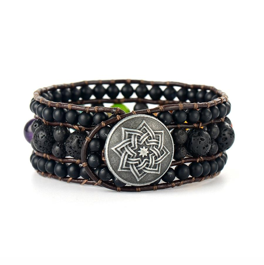 Balancing 7 Chakra Black Star Leather Bracelet