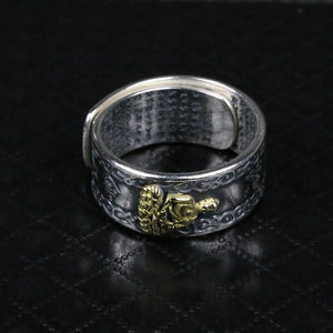 925 Sterling Silver Buddha Ring with Heart Sutra Inside Adjustable