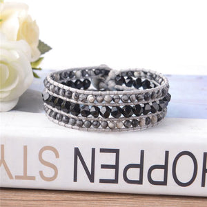 Healing Black Agate Leather Wrap Bracelet (Exclusive Edition)
