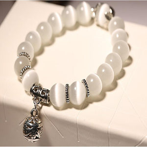 Natural Opal Beads Crystal & Stainless Steel Women's Bracelet
