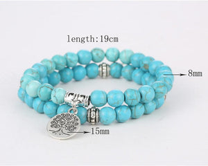 Healing Turquoise Tree of Life Bracelet for Protection