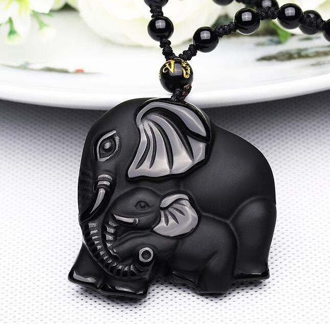 Healing Black Obsidian Carved Mother Elephant Necklace + 10% Donation