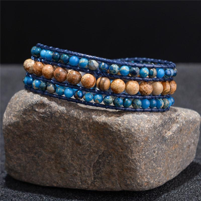 Healing Natural Stone Wrap Bracelet for Vision, Truth, Awareness