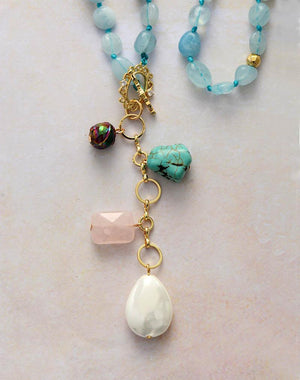 Healing Aquamarine Necklace with Turquoise, Shell Pearl and Rose Quartz Pendant