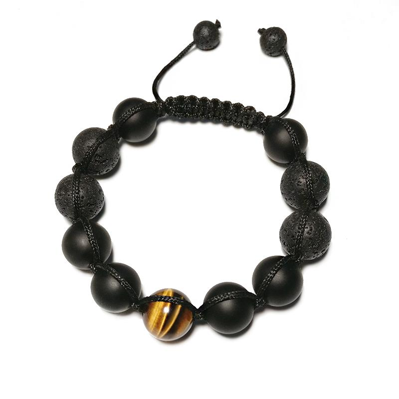 Healing Black Lava Stone with Tiger Eye & Volcanic Agate Bracelet