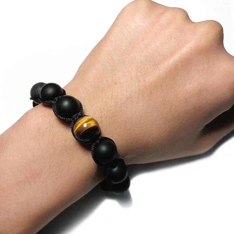 Healing Black Lava Stone with Tiger Eye & Volcanic Agate Bracelet + 10% Donation