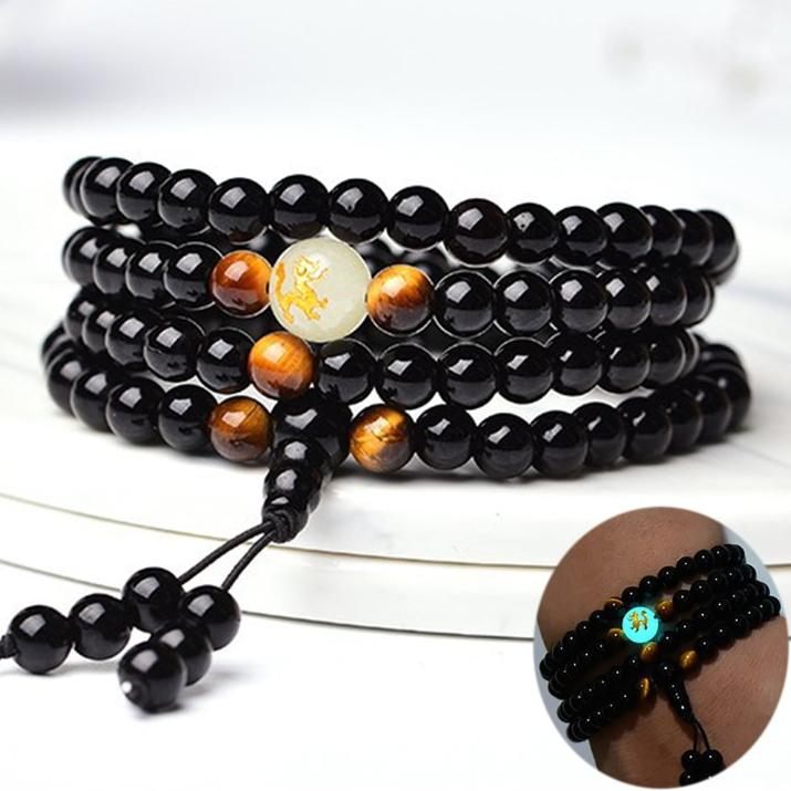 108 Black Onyx Mala Beads Luminous Dragon Bracelet (Limited Edition)