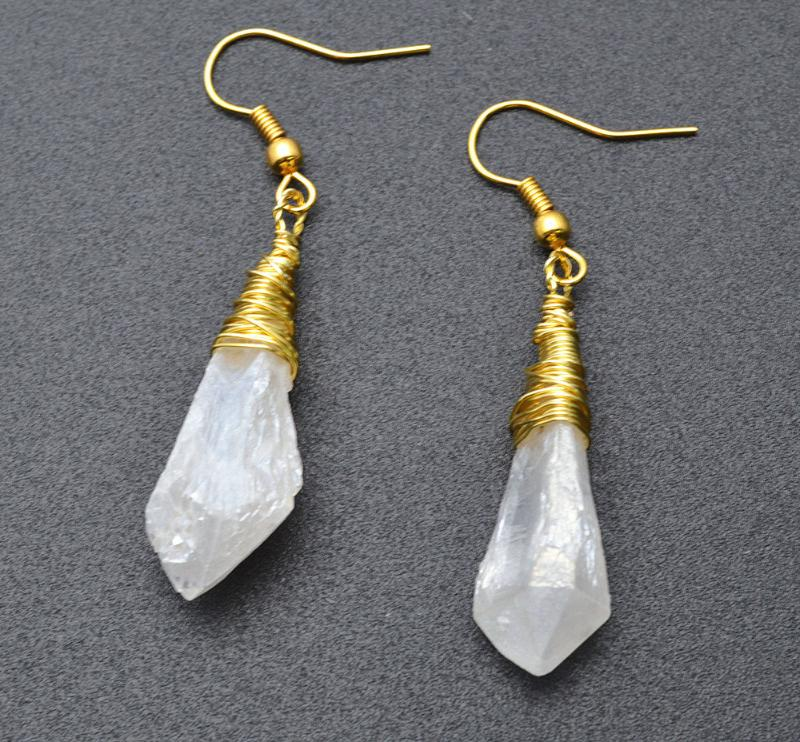 Calming & Healing Natural Crystal Quartz Stone Point Wire Wrapped Dangle Earrings