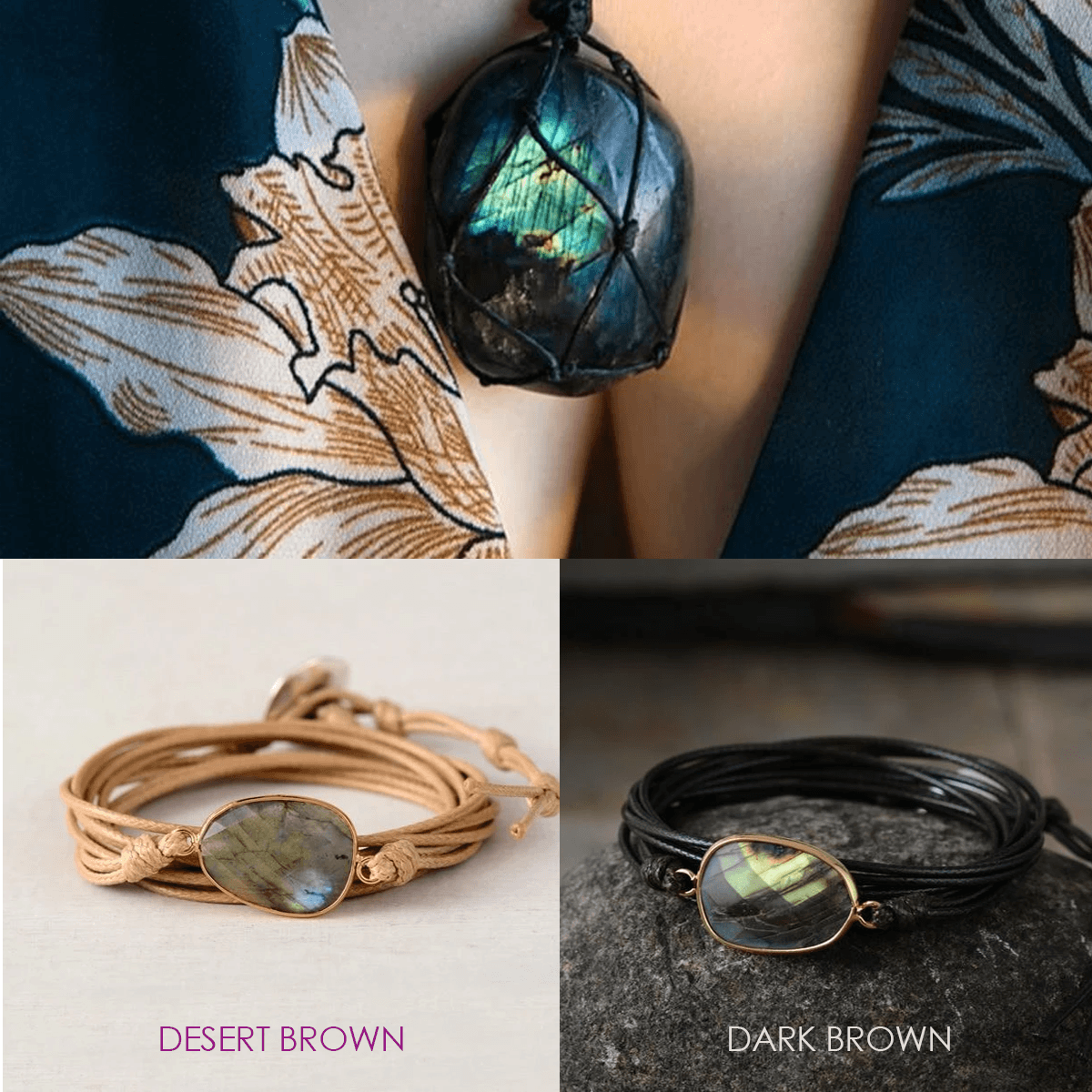 Dragon's Eye Labradorite Necklace + 1 Healing Labradorite Wrap Bracelet