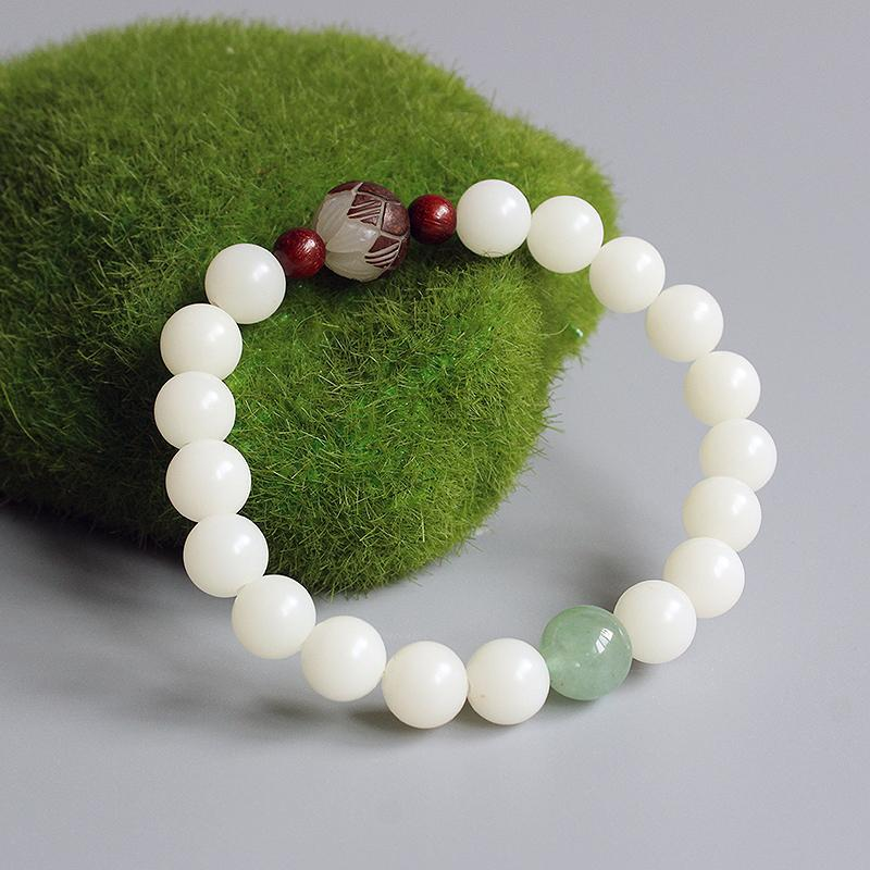 Healing White Bodhi Om Bracelet With Green Jade