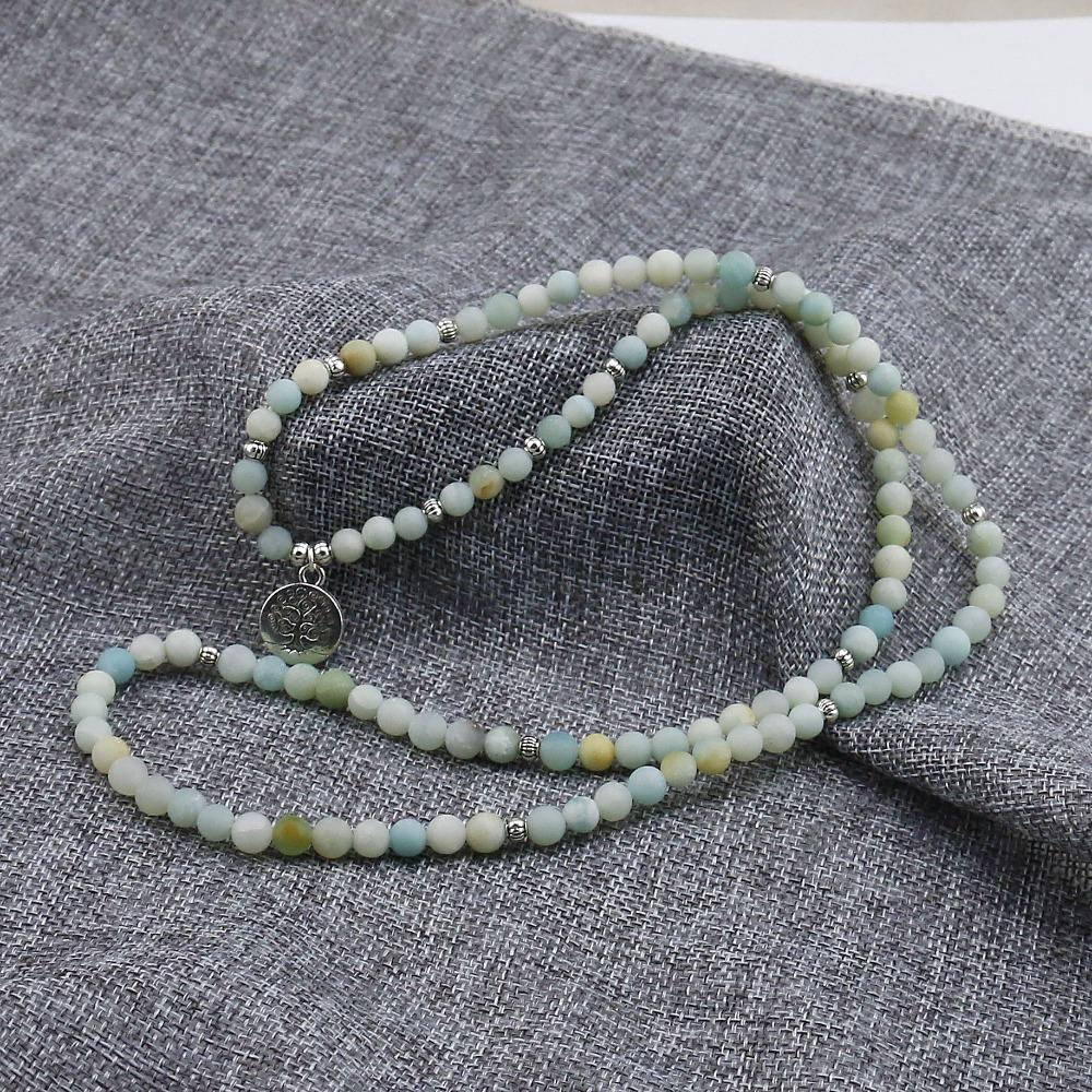 Healing Amazonite 108 Bracelet Prayer Beads with Tree of Life Charm + 10% Donation