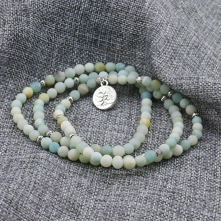 Healing Amazonite 108 Bracelet Prayer Beads with Tree of Life Charm