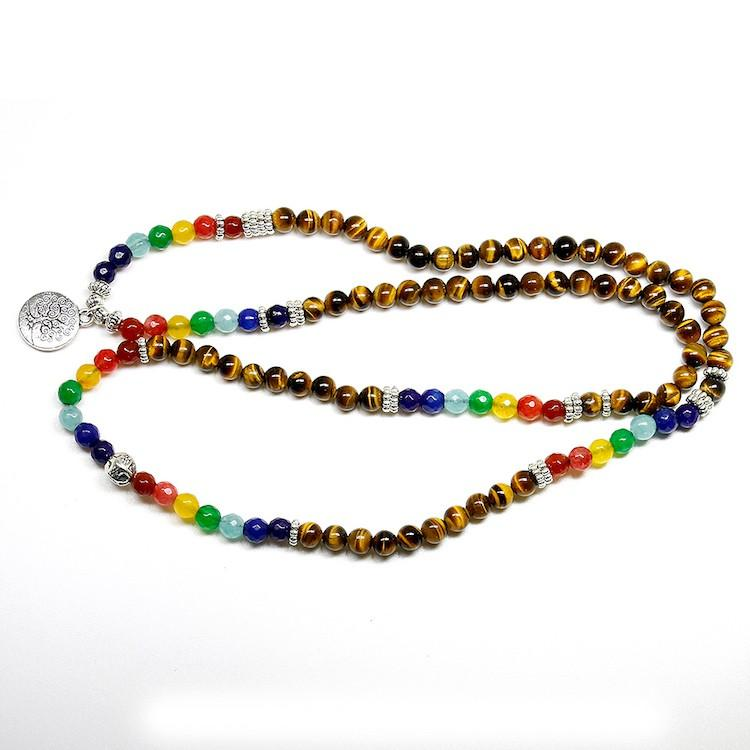 Tiger Eye / 7 Chakra Mala Bracelet With Tree of Life Charm