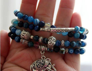 Calming Blue Agate Mala With Elephant Charm