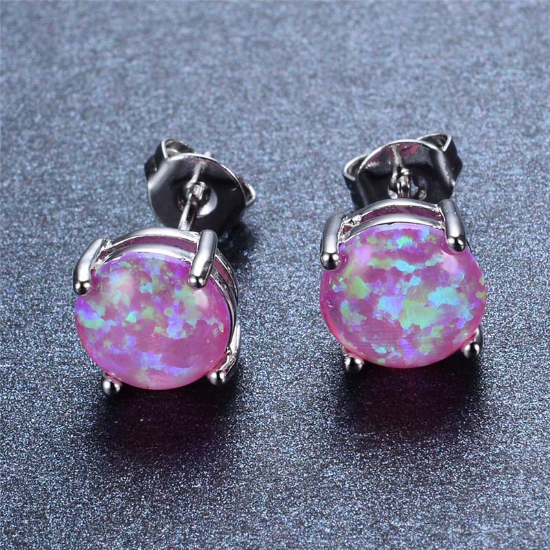 Silver Stud Earrings with Opal Stone