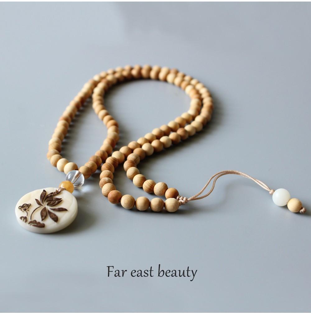 Healing Meditation Mala With Enlightening Lotus Charm + 10% Donation