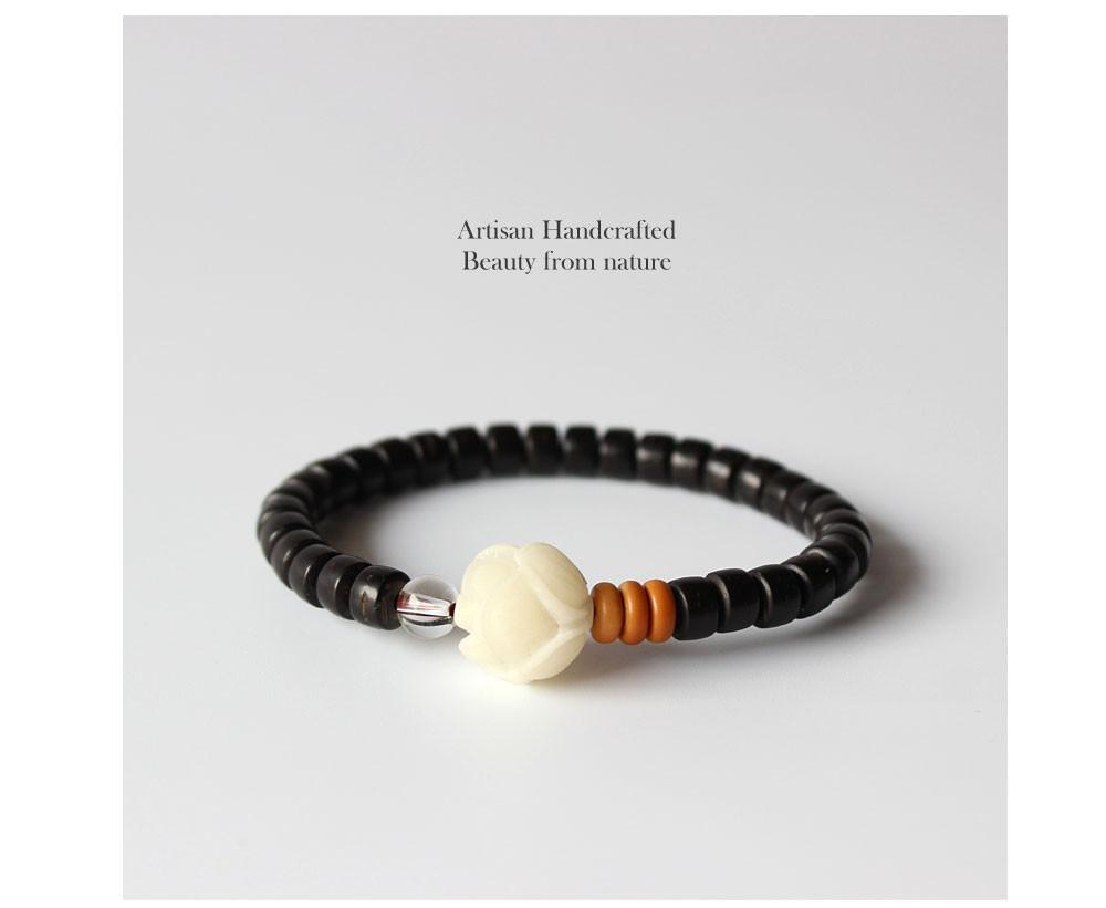 Natural Coconut Shell Beads With Carved Rose White Bodhi Seed Bracelet