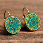 Kaleidoscope Glass Cabochon Hanging Earrings