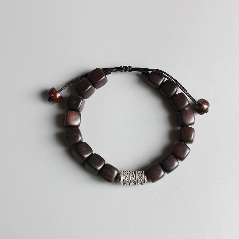 Lucky Natural Dark Sandal Wood Bracelet With Om Mani Padme Hum Amulet
