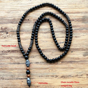 Grounding Handcarved Hematite Mala Necklace