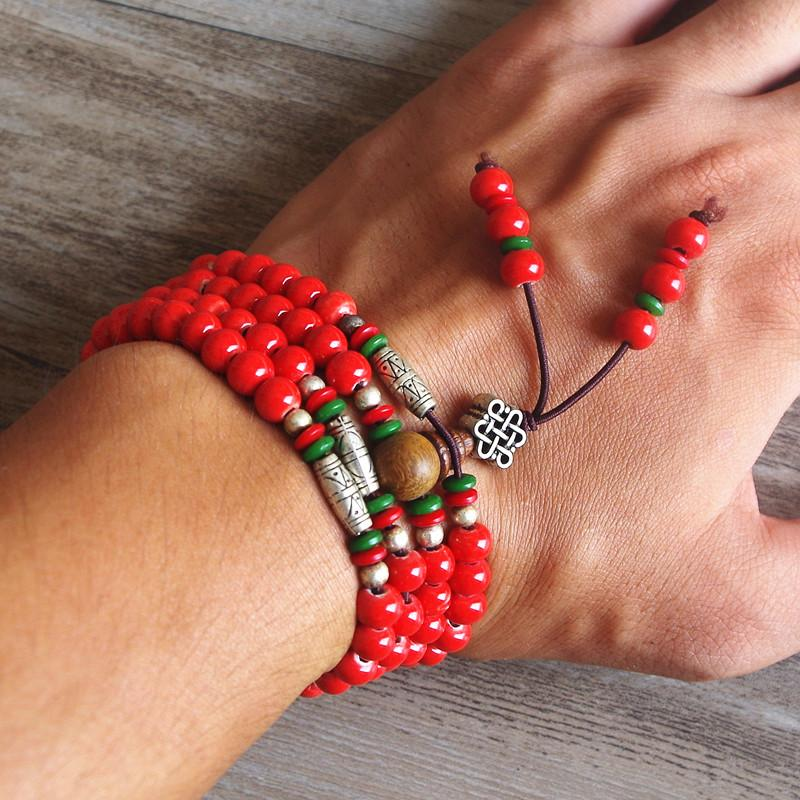 Healing Red Beads Mala with Genuine Tibetan Silver (Limited offer)