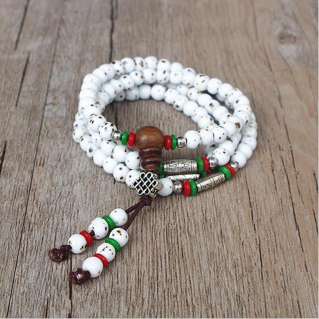 Healing White Ceramic Mala With Genuine Tibetan Silver