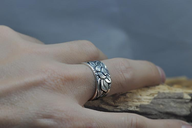 925 Sterling Silver Lotus Ring with the Heart Sutra Inside Adjustable