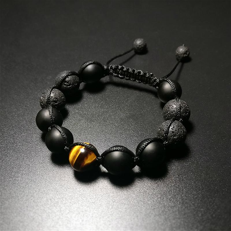 Healing Black Lava Stone with Tiger Eye & Volcanic Agate Bracelet (50% OFF) + 10% Donation