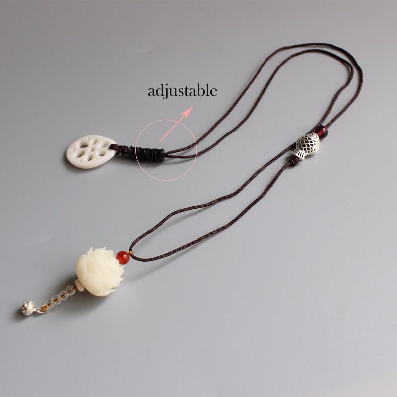 Enlightenment Lotus Bodhi Seed Necklace (With Lotus Root)
