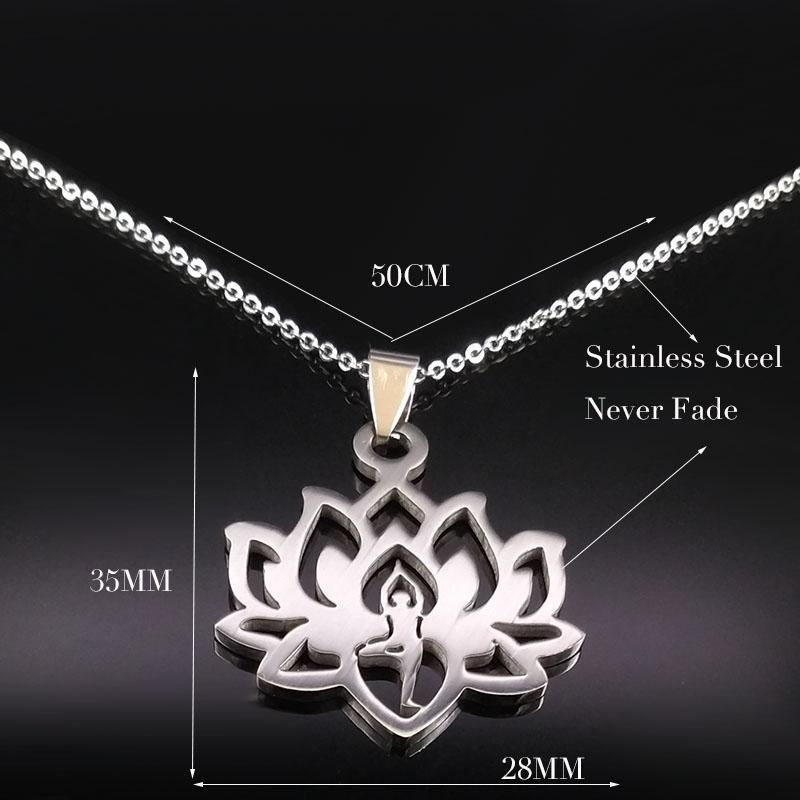 Stainless Steel Yoga Lotus Necklace + 10% Donation